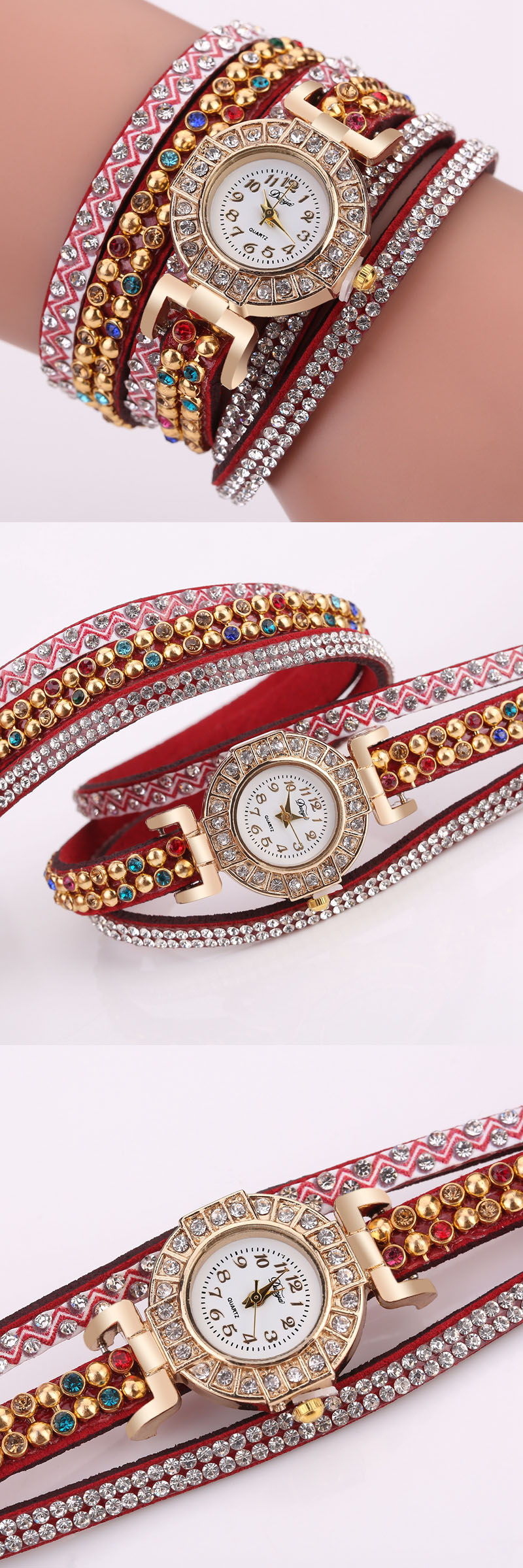 DUOYA Fine Leather Band Winding Crystal Ladies Bracelet Watch Elegant Women Analog Quartz Watches