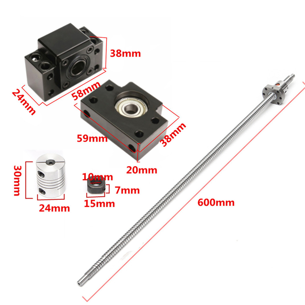 SFU1204 600mm Ball Screw with BK10 BF10 End Support and 6.35x8mm Coupler