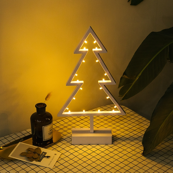 Creative Love Heart Star Christmas Tree LED Night Light Battery Powered Table Lamp Home Decoration