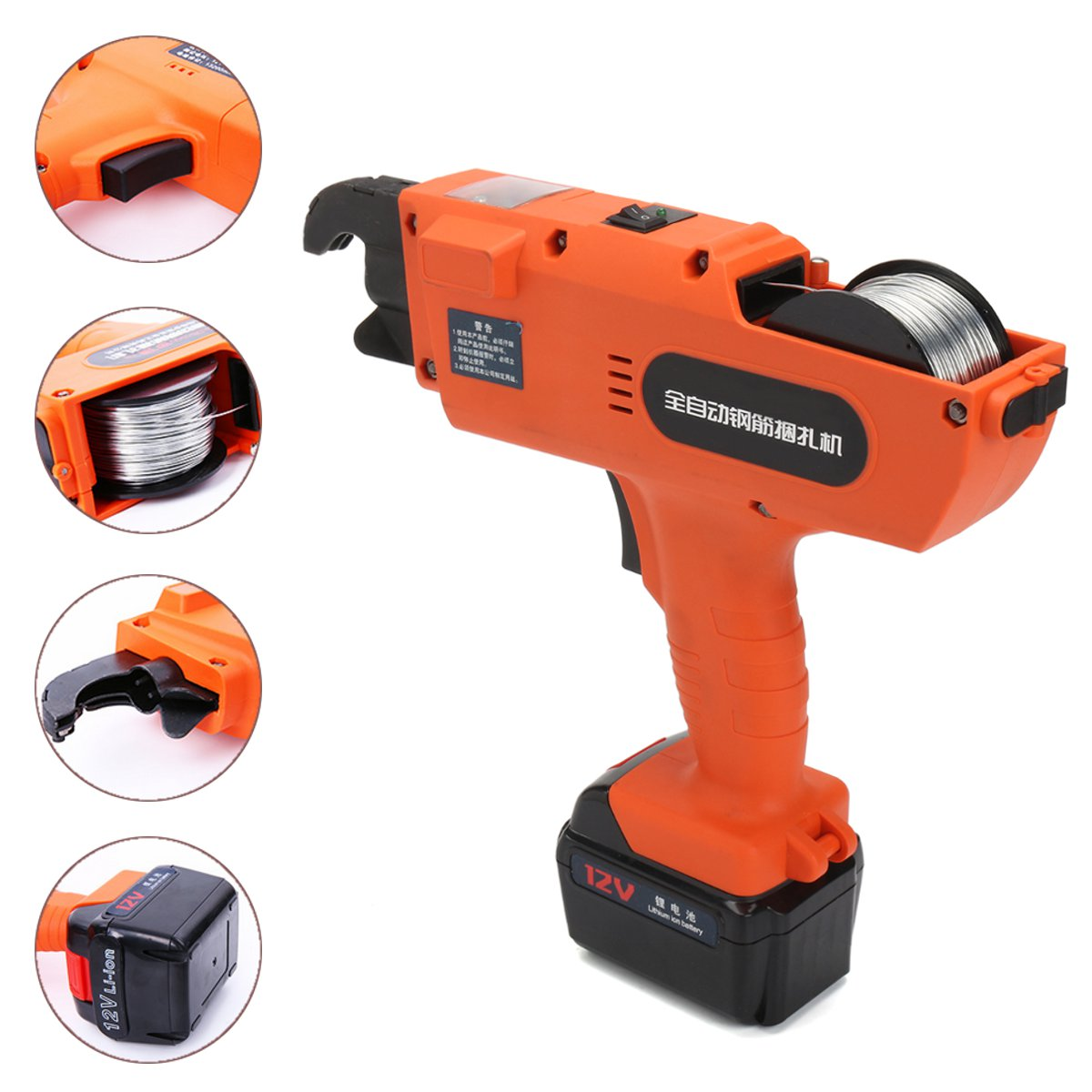 12V Automatic Handheld Rebar Tier Tool Building Tying Machine Strapping Tying Power Tools 30-60mm
