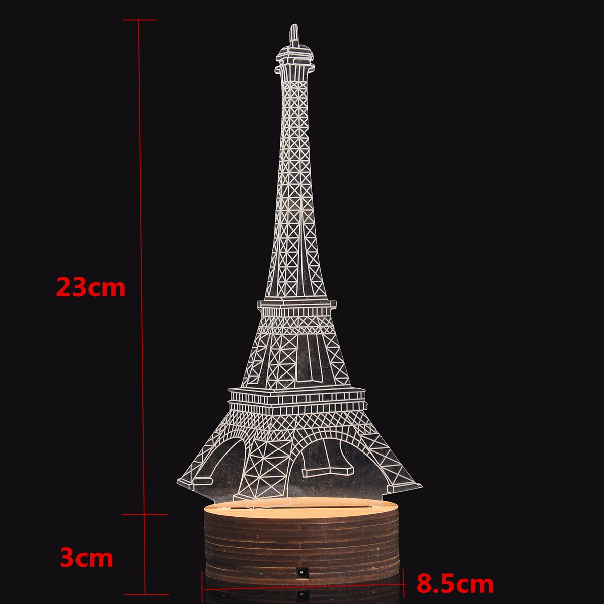 3D Blue Eiffel Tower USB LED Desk Lamp Bedroom Table Night Light Decorative Gift
