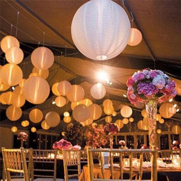 50 Pcs White Ball Lamps LED Light Paper Lantern Balloons Wedding Party Christmas Halloween Decor