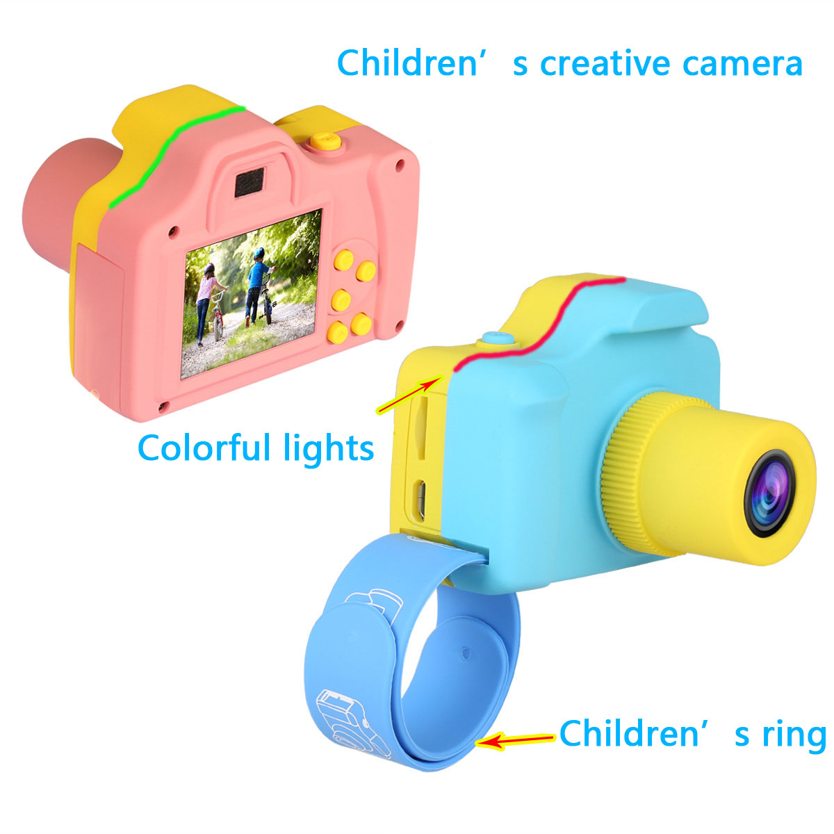 MECO 1.77inch 720P Kids Mini Portable Creativity Digital Photography Handheld HD Photo Camera VCR for Children Gift