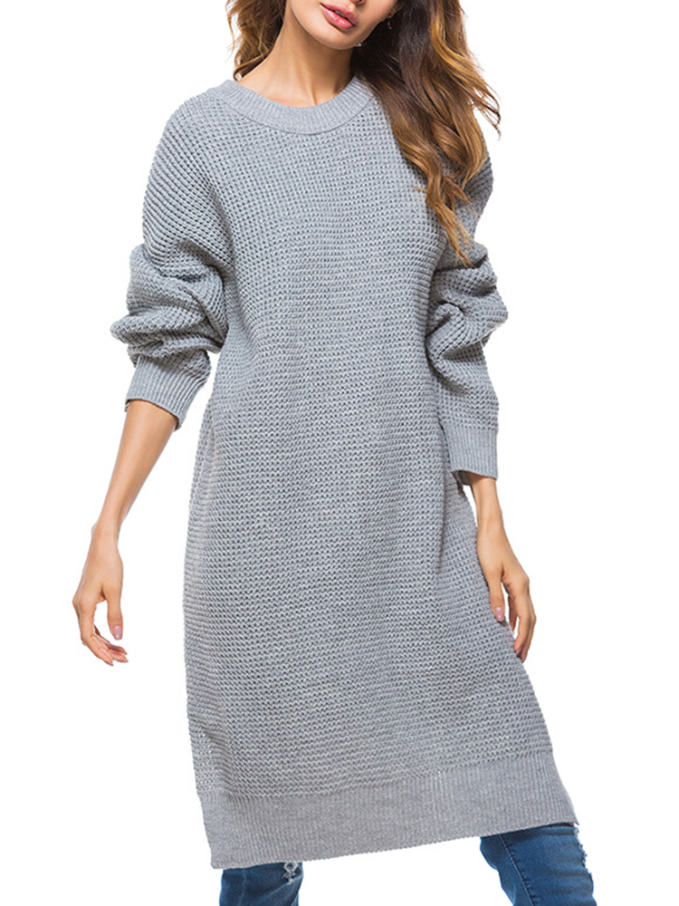 Pure Color Sweater Dress
