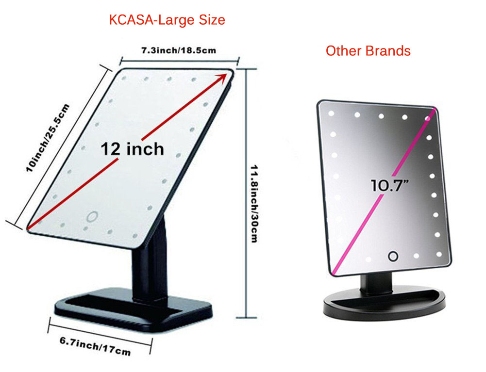 KCASA KC-554 Bathroom Lighted Makeup Mirror Touch Sensor 20 LED Light Rotatable Shaving Vanity Mirrors with Removable 10x Magnifying Mirrors