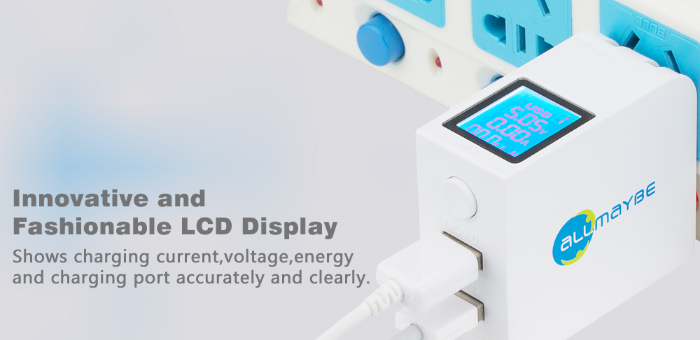Allmaybe EU2-QC3.0 Universal LCD Display 2Ports USB Output Smart Speed-boosting Mini USB Charger Wall Charger