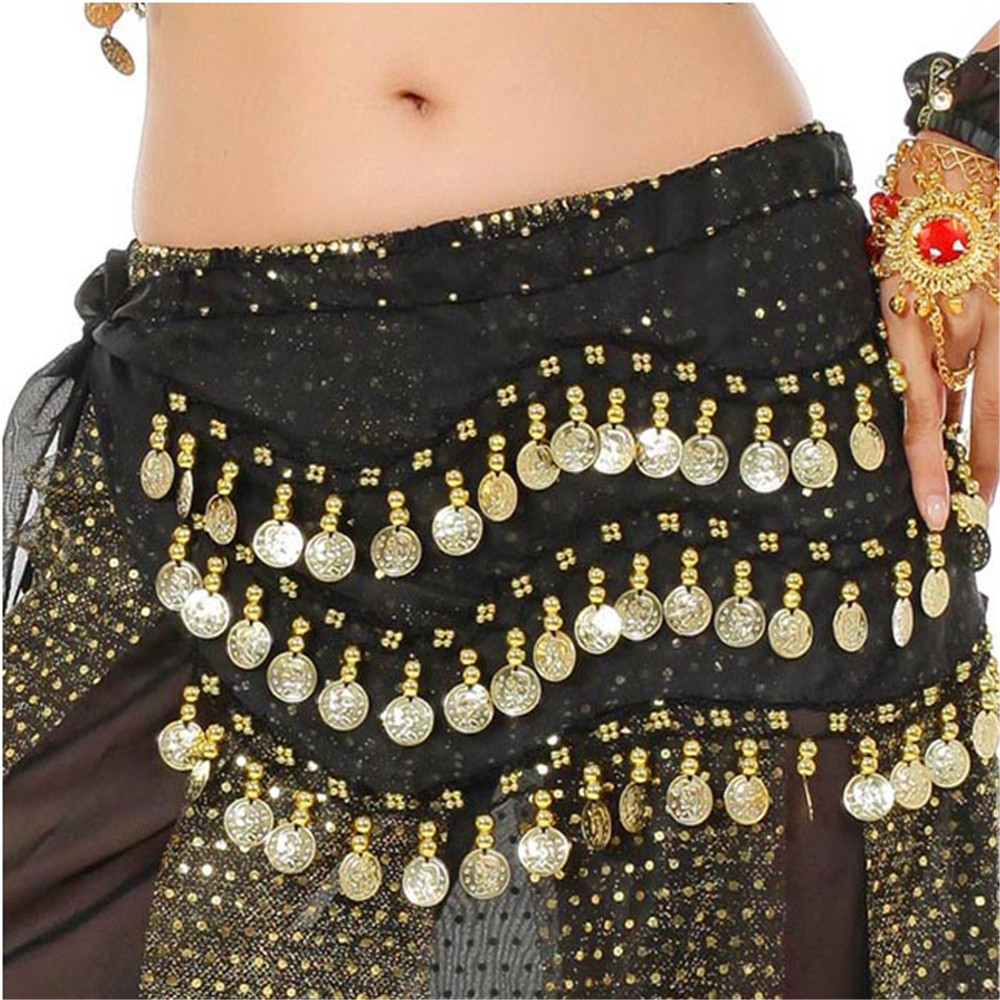 3 Row Belly Dance Hip Skirt Scarf Belt Waistband Dance Performance Supplies