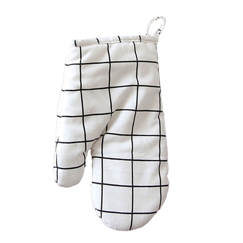 1PC Kitchen Cooking Heat Resistant Cotton Cloth Mitt Plaid Pattern Printed Baking Oven Insulation Anti-scald Glove for Baking Kitchen Specialty Tools Accessories