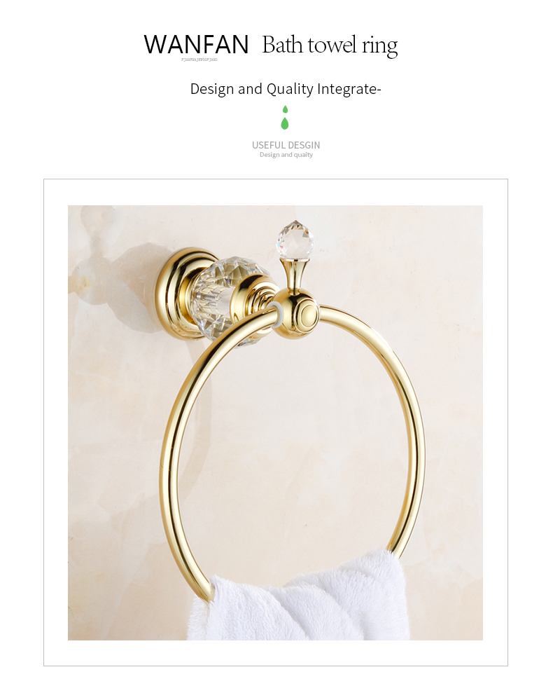 WANFAN HK-23 Home Bathroom Decorative Luxury Golden Crystal Wall Mounted Robe Holder Towel Ring