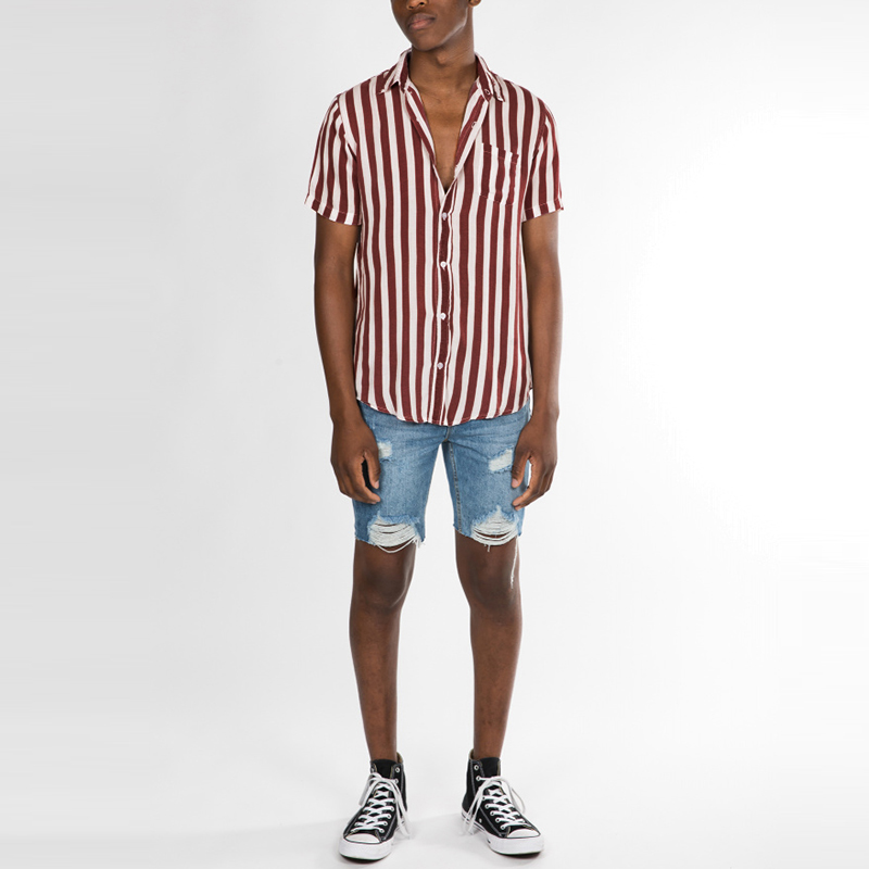Men Vertical Stripe Turn-down Collar Short Sleeve Shirts