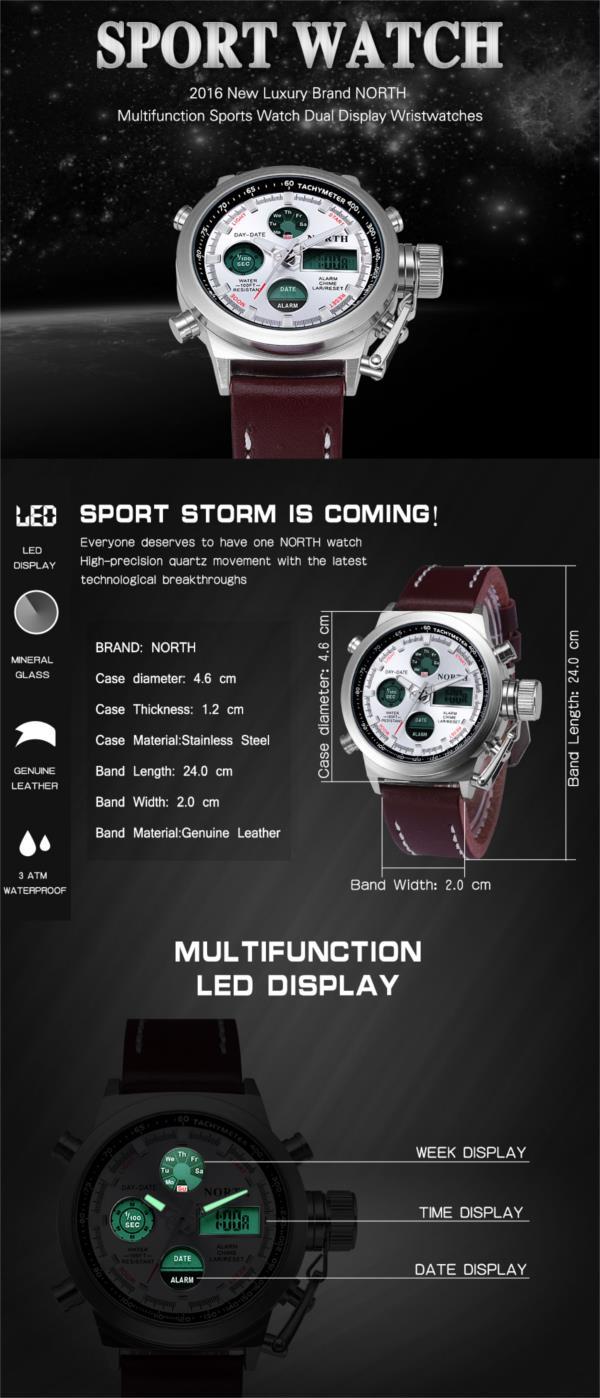 NORTH 6022 Fashion Men Digital Watch Luxury Dual Display Safety Lock Crown Sports Watch