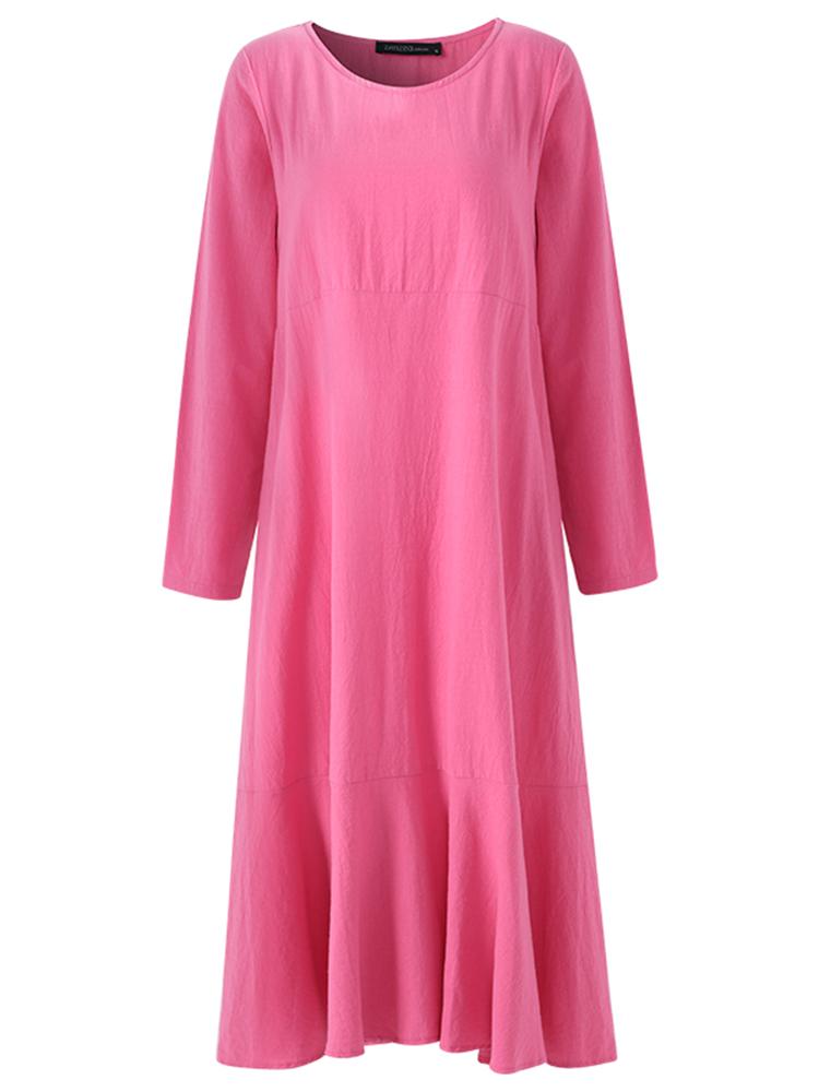 S-5XL Casual Women Lotus Hem Long Maxi Dress