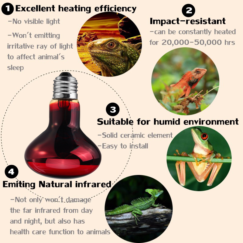 25/50/75/100W R63 Daylight Neo Emitter Heater Pet Animal Reptile Brooder Heat Light Lamp