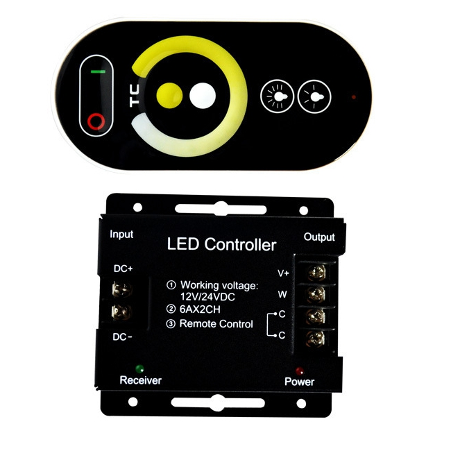 DC12-24V 6A 2CH LED RF Touch Dimmer Remote Controller for Single Color Strip Light