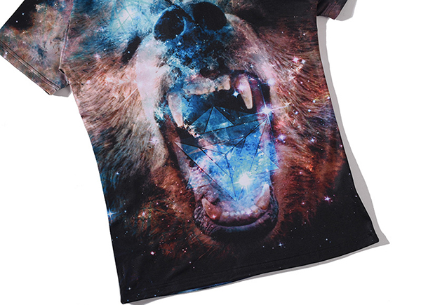 Summer Men's Fashion Casual 3D Star Bear Print Short Sleeve T-Shirt Comfortable Soft T-Shirt