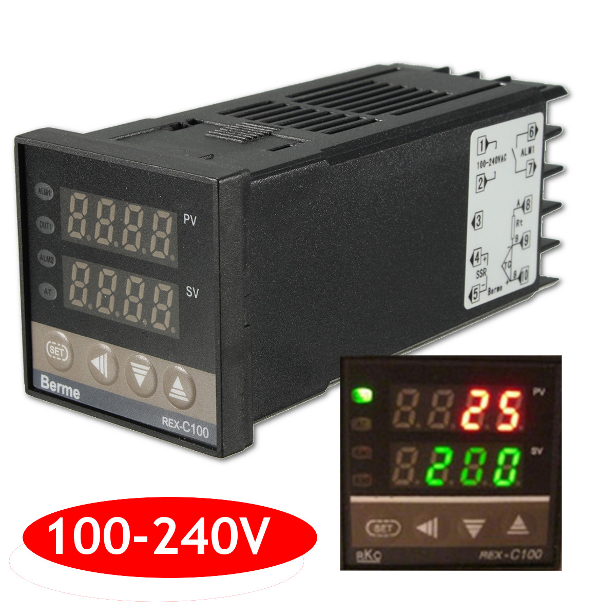 100-240V Digital PID Temperature Controller + 40A SSR + K Thermocouple Sensor