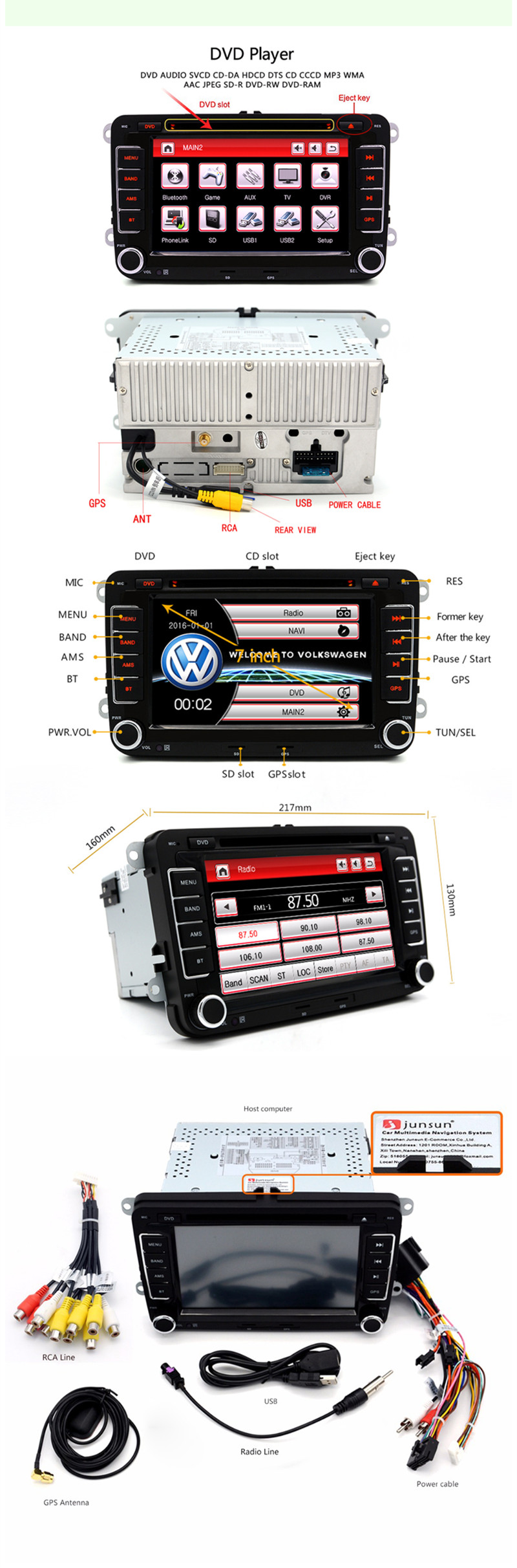 Junsun 7 Inch 2 Din Car DVD GPS Radio Player for VW Golf 5 6 Touran Passat B6 Sharan Jetta Polo