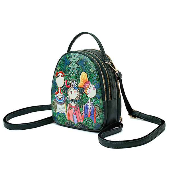 Women Faux Leather Forest Printed Pattern Backpack