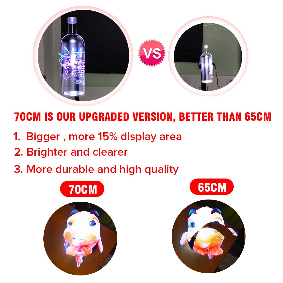70cm 3D Holographic Sight Projector Fan Display WIFI LED Hologram Player Lamp Image