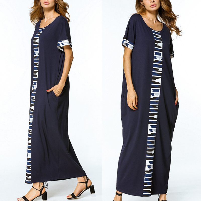 Plus Size Casual Women Loose Camouflage Splicing Maxi Dress