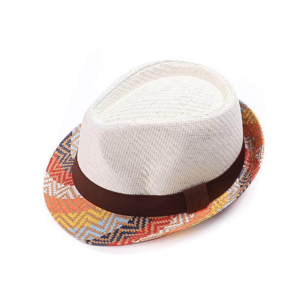 Womens Stripe Short Brim Fedora Hats Beach Jazz Hat