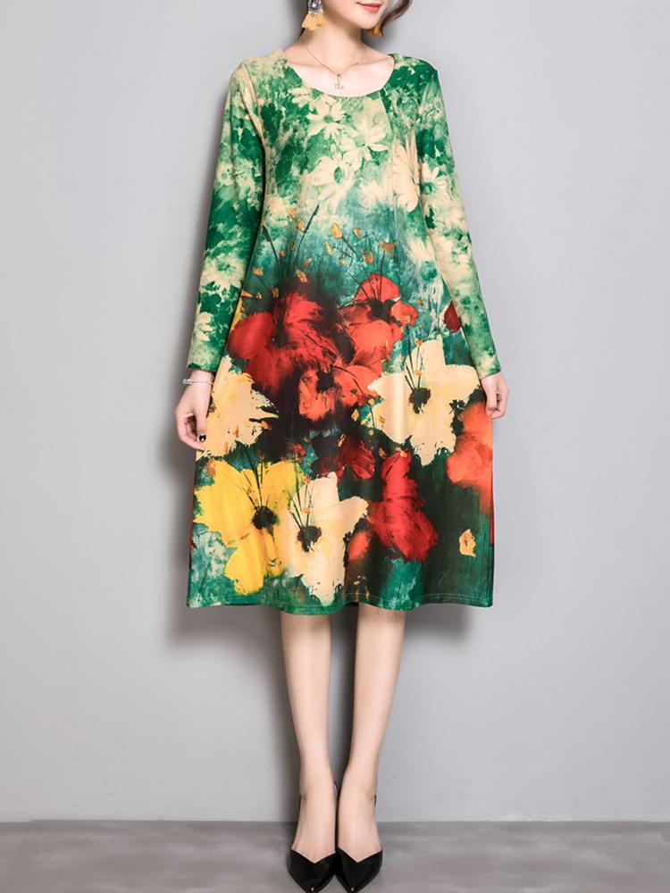 Ethnic Women Loose Print O-neck Long Sleeve Elegant Dress