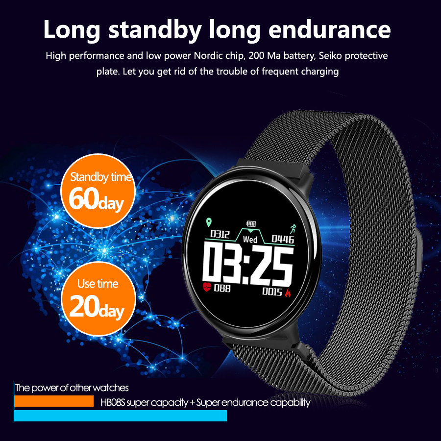 Bakeey HB08S 0.95inch OLED ColorScreen Heart Rate Blood Pressure Monitor Fitness Tracker Smart Watch