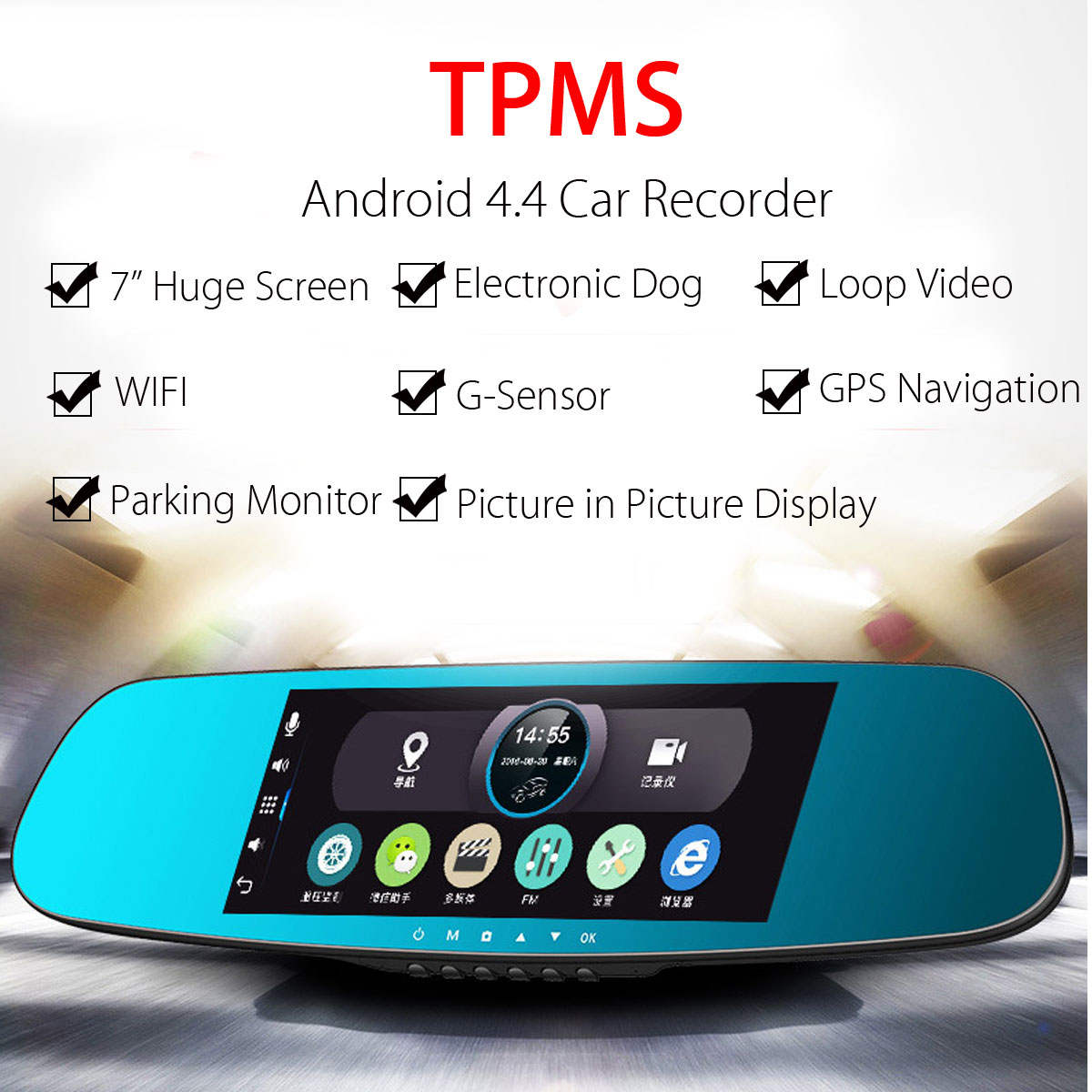 7 Inch HD Android TPMS WIFI GPS Car DVR Rear View Mirror Driving Dual Camera Recorder