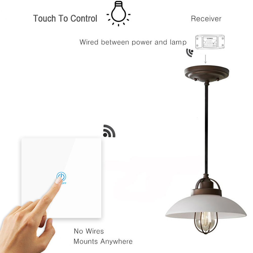 KTNNKG 2 Channel 433MHz 86 Wall Touch Remote Control Switch Wireless RF Transmitter Tempered Glass Panel