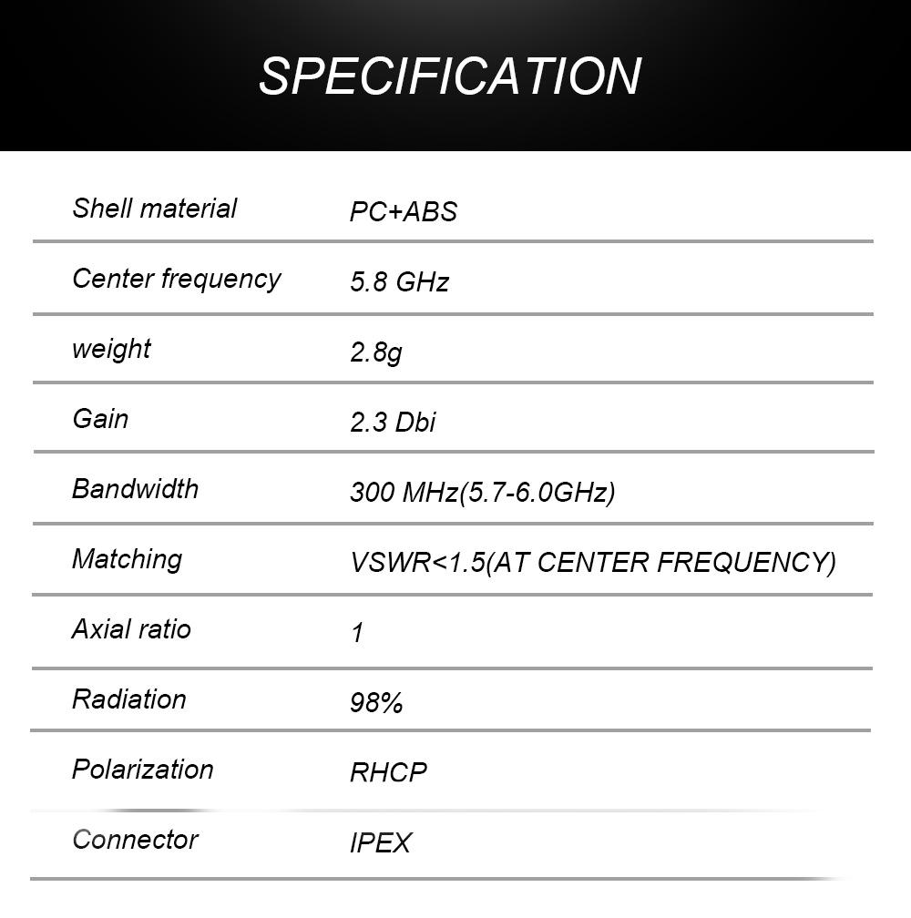URUAV Lollipop 5.8GHz 2.3dBi Super Mini FPV Antenna RHCP U.FL IPX IPEX Black For FPV Racing Drone Goggles