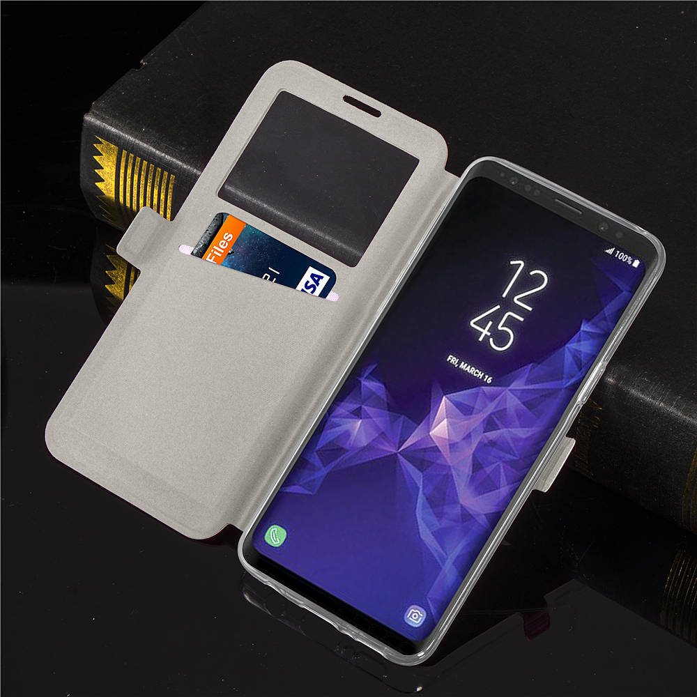 Window View Magnetic Flip Bracket Card Slot TPU Leather Protective Case for Samsung Galaxy S9