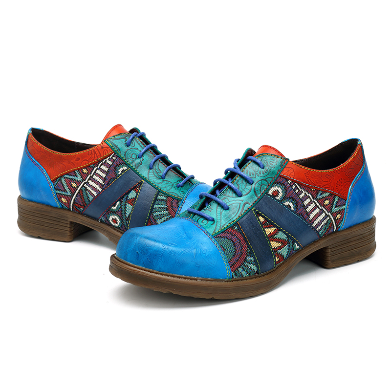 SOCOFY Bohemian Splicing Pattern Flats Leather Shoes