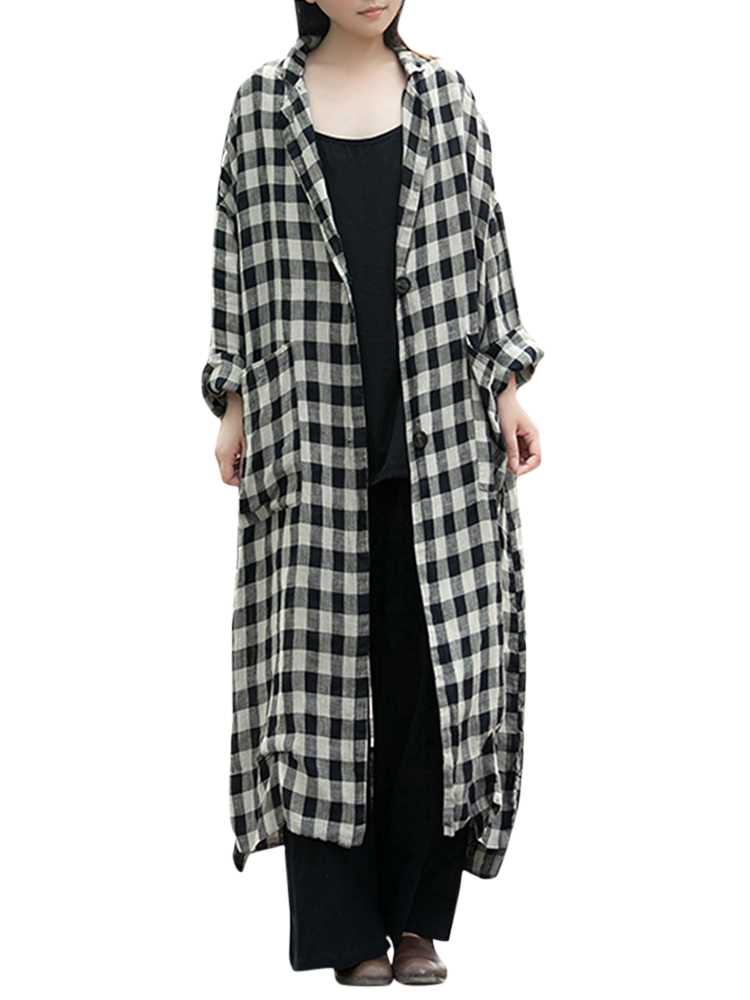 Women Plaid Lapel Button Down Long Maxi Coat Outwear