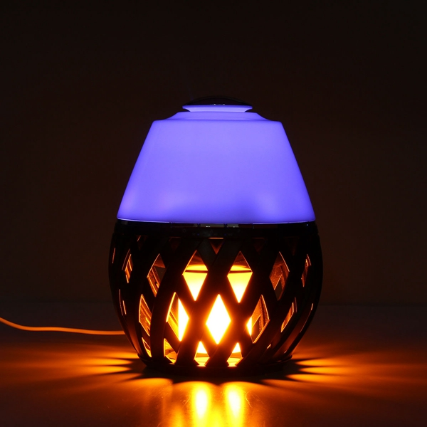 Colorful LED Torch Flame Flicker Night Light Humidifier Aroma Oil Diffuser Air Purifier