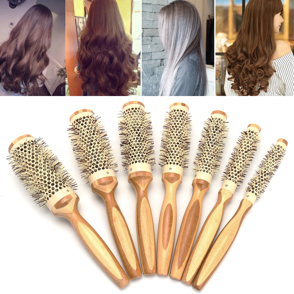 7 Pro Round Brush Curly Hair Roller Brush Natural Wood Hairbrush Comb Salon Tools