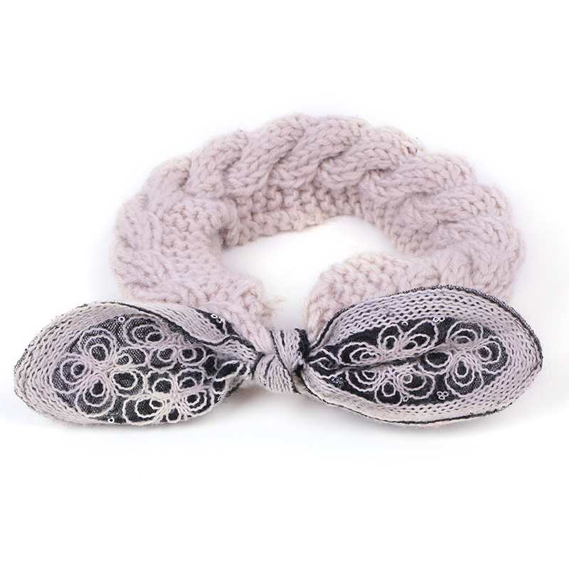 Women Earmuffs Handmade Knitted Bow Hair Band Headband
