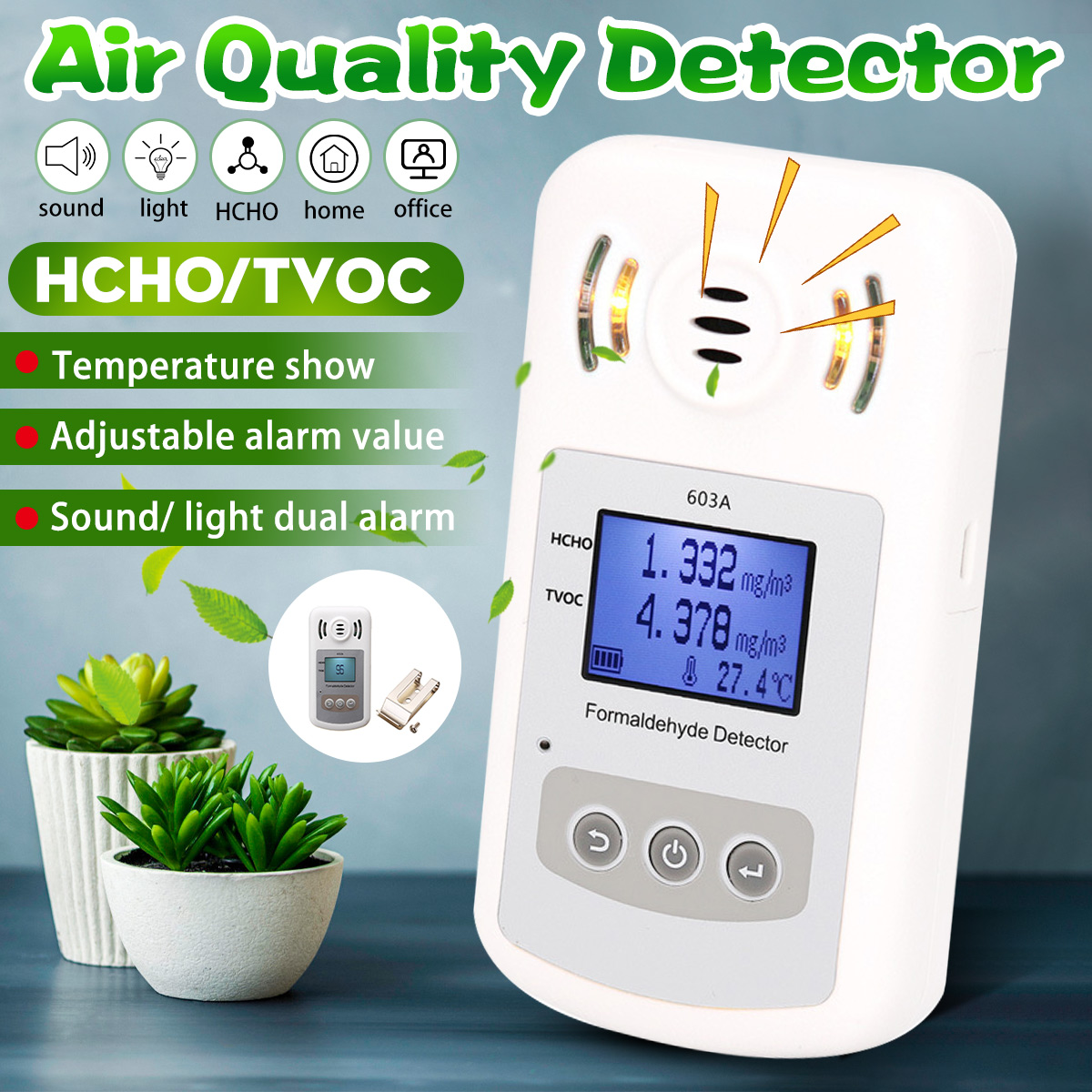 Portable Air Quality Monitor TVOC Formaldehyde Tester