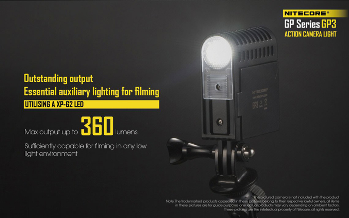 Nitecore GP3 XP-G2 360LM USB Rechargeable LED Action Camera Light