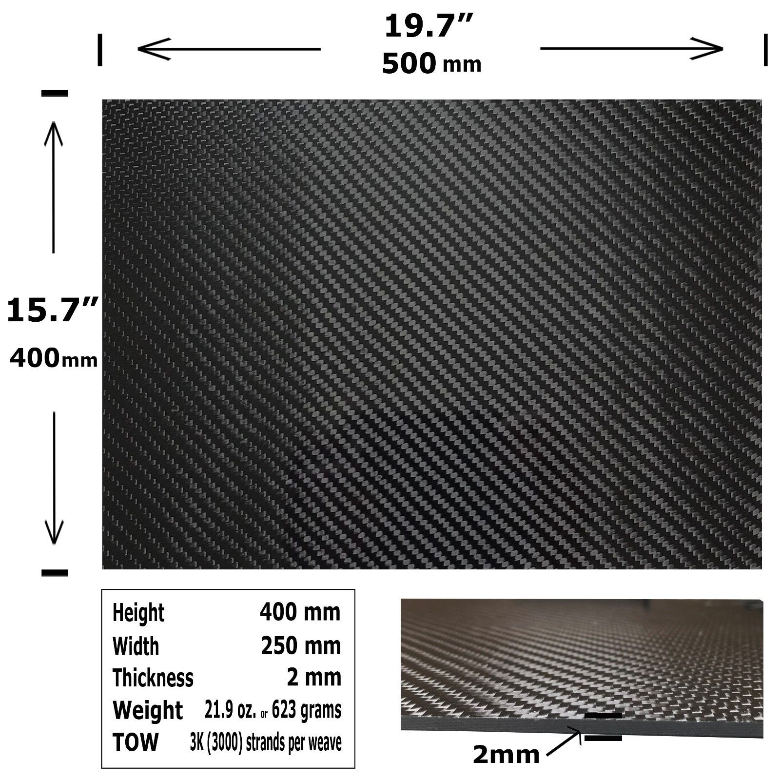 400x500x2mm Carbon Fiber Board Plate Sheet 3K Twill Weave High Gloss Vehicle Material