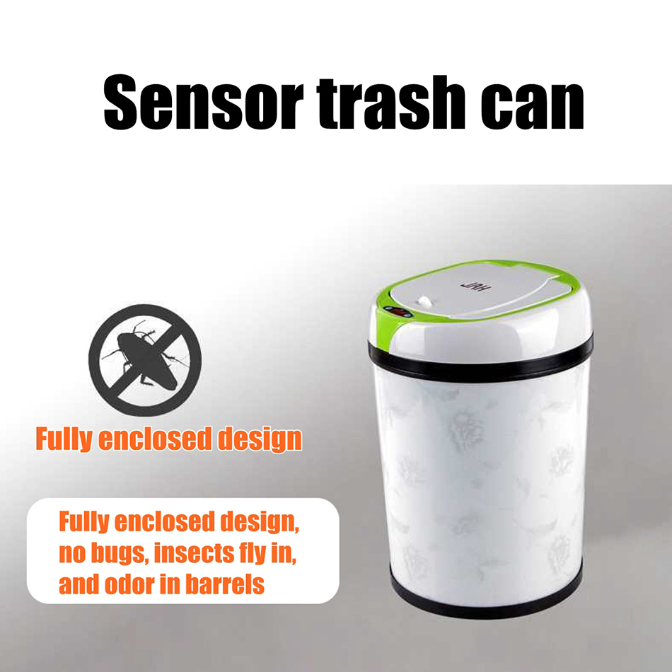 New Fashion 8L Inductive Type Trash Can Smart Sensor Automatic Kitchen and Toilet Rubbish Bin Stainless Steel Waste Bin