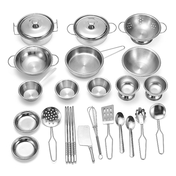 ENPEI 25PCS Stainless Kitchenware Play Set Kitchen Cooker Set Child Kids Role Play Toy Gift