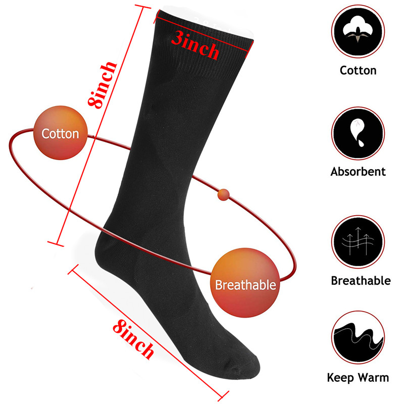 1 Pair 3.7V USB Rechargeable Battery Heated Socks Winter Outdoor Sports Bike Heating Socks Electric Feet Warm Socks