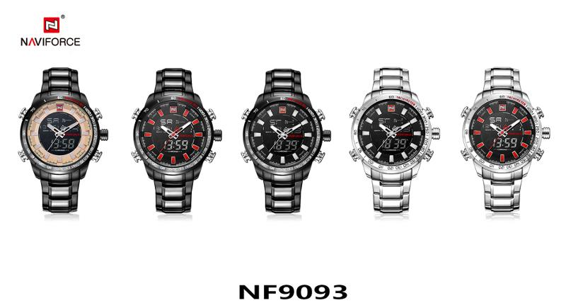 NAVIFORCE NF9093 Fashion Men Dual Display Watch Multifunction Stainless Steel Quartz Watch