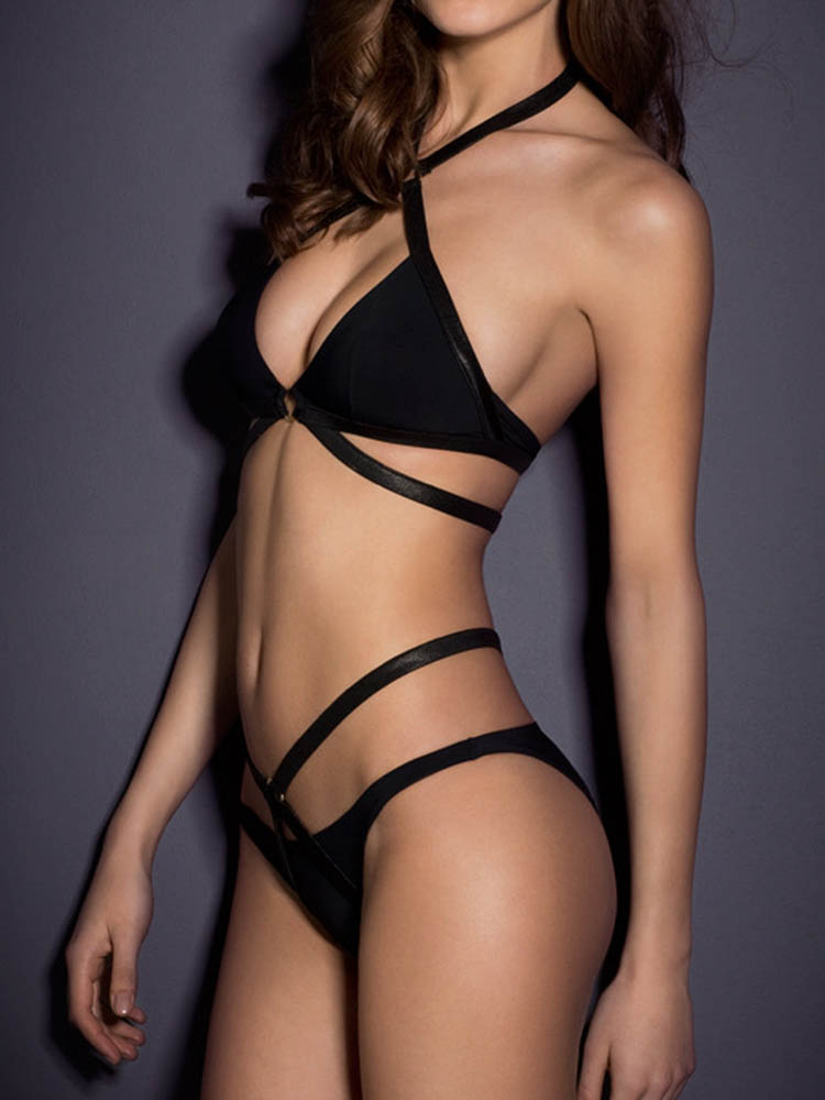 Strappy Seduced Black Halter Swimwear Bathing Suit