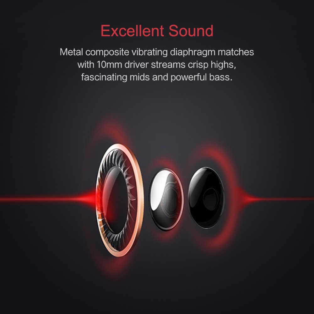 ROCK SPACE Earphone 3.5mm Wired Control Heavy Bass Stereo Headphone with Mic for iPhone Xiaomi