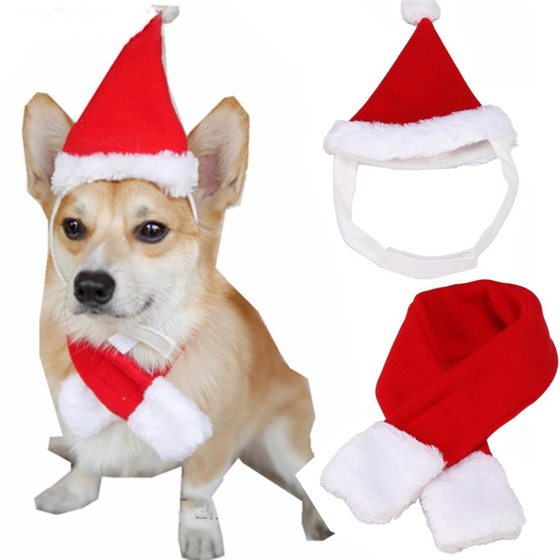 Christmas Pet Dog Cat Santa Hat Collar Set Headwear Headdress Kitten Caps With Scarf Christmas Decoration