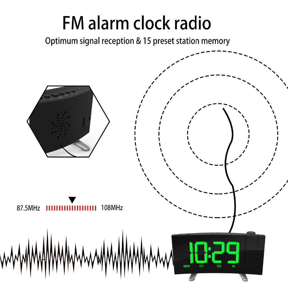 Sensitive LED Digital Projection Clock FM Radio Dual Alarm Clock With USB Charging Desktop Electronic LED Clock