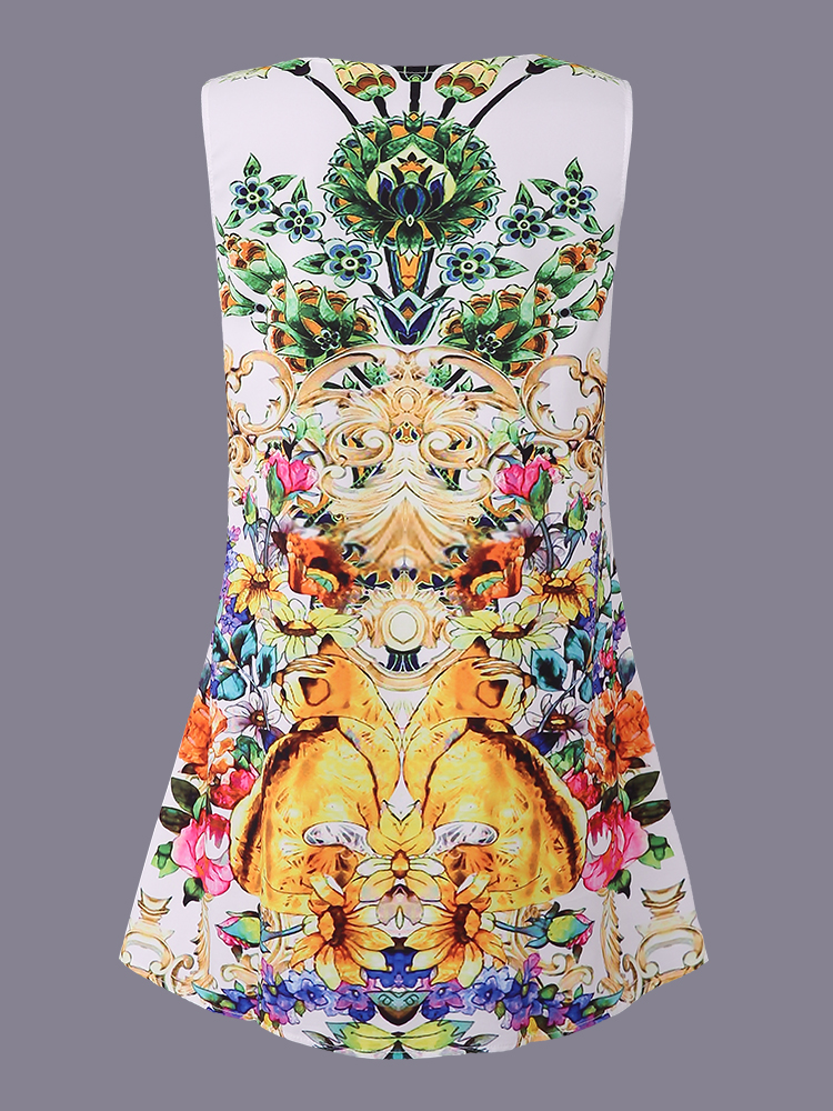 Pattern Printed Sleeveless O-Neck Mini Dresses For Women