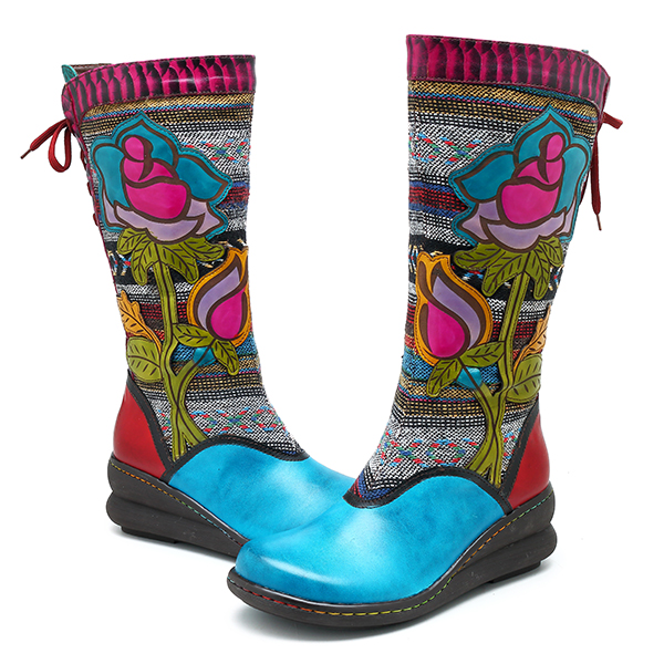 SOCOFY Genuine Leather Handmade Floral Pattern Zipper Boots