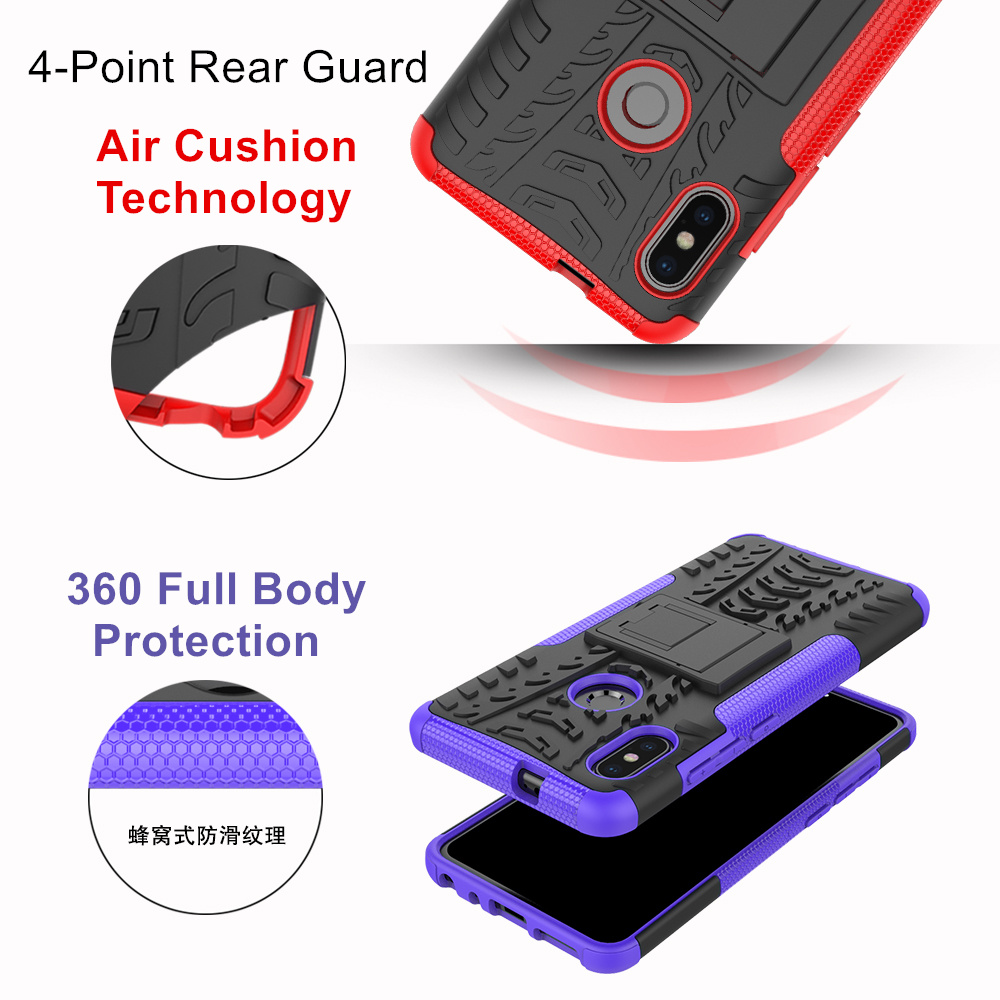 Bakeey Armor Shockproof Holder Dual Rugged Silicone+PC Protective Case For Xiaomi Redmi Note 5
